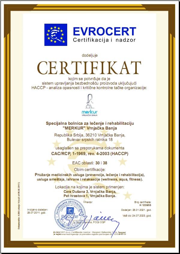 HACCP sertifikat Merkur