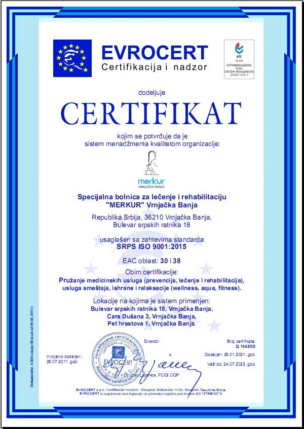ISO 9001 sertifikat Merkur